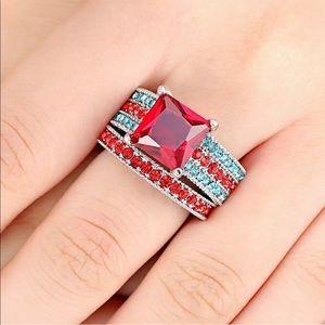 Ruby red stone 2 pc bridal gemstone ring